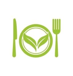 leaf cutlery healthy food icon graphic vector image