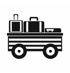 Service cart with luggage icon simple style vector