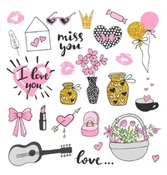 Set romantic valentines day doodles vector