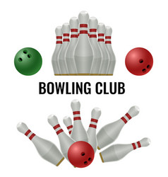 bowling club logo design of equipment for play vector image