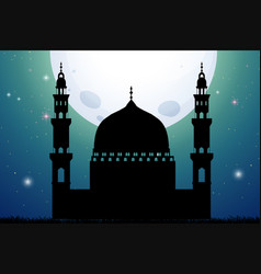 Silhouette mosque at night time vector