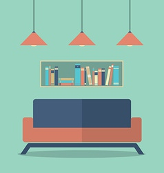 Modern design interior sofa and bookshelves vector