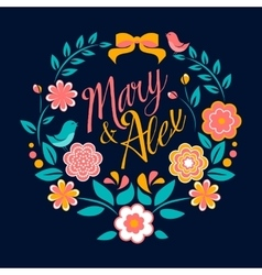 Flower wedding invitation card mary and alex vector
