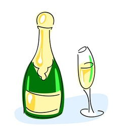 Champagne bottle glass vector