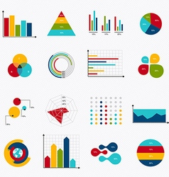 Business data market elements dot bar pie charts vector