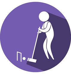 Croquet icon on blue badge vector
