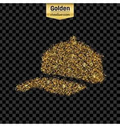 Gold glitter icon of baseball cap isolated vector