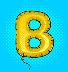 air balloon in shape of letter b pop art vector image