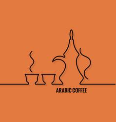 Arabic coffee logo line concept design background vector