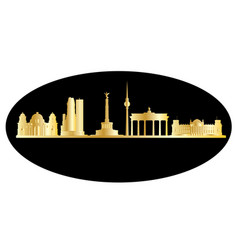 Berlin gold black skyline vector