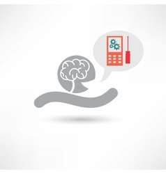 Brain and cellphone icon vector