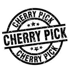 Cherry pick round grunge black stamp vector