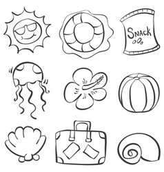 Doodle of object beach holiday vector