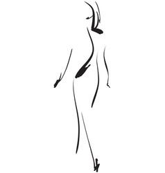 fashion models sketch hand drawn cartoon girl vector image