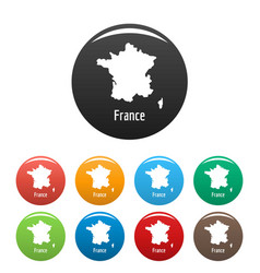 France map in black set simple vector