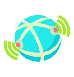 Globe database icon cartoon style vector
