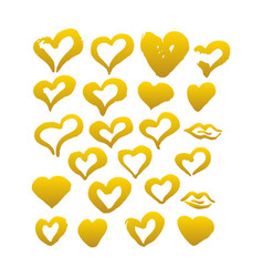 gold hand drawn brush hearts vector image vector image