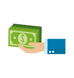 Green bills money in the hand vector