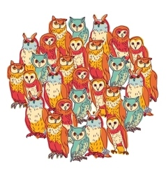 Group owls isolate on white vector image