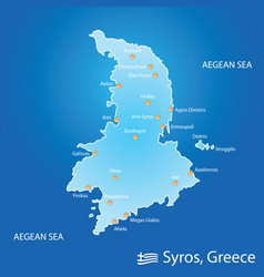 Island of syros in greece map in colorful vector