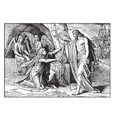 Jesus appears to mary magdalene after his vector