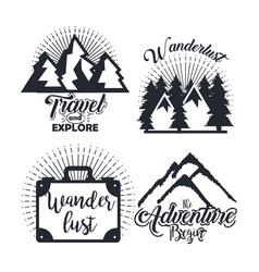 Journey label set travel explore adventure symbol vector
