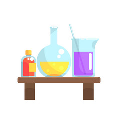 Laboratory chemicals in glassware stand on wooden vector