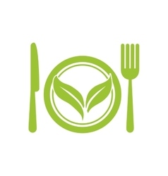 Leaf cutlery healthy food icon graphic vector