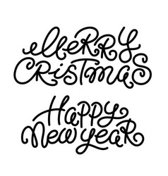 merry christmas and happy new year greeting text vector image