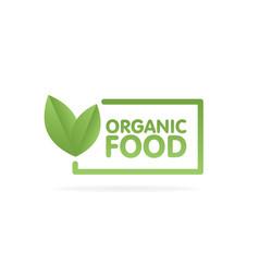 Organic food eco green leaf label sticker vector