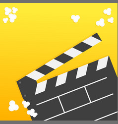 Popcorn open clapper board from top down vector