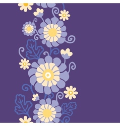 Purple flowers and leaves vertical seamless vector image
