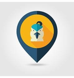 Quail flat pin map icon Animal head symbol vector image vector image