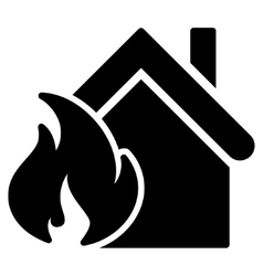 Realty fire disaster flat icon vector