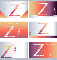 Set of business cards with letter z separated vector