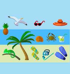 Set of summer vacation accessories vector