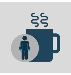 Silhouette sitting business cup coffee icon vector