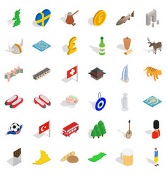 Sweden icons set isometric style vector