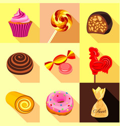 Sweets and candy icons set flat style vector