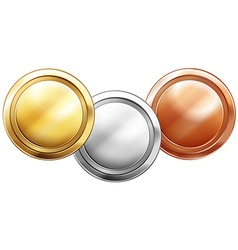 Three shiny coins on white background vector image