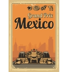 Vintage poster grand prix mexico vector