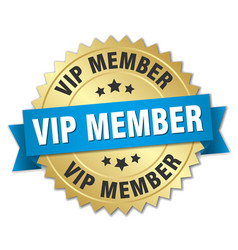 vip member round isolated gold badge vector image vector image