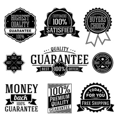 Quality guarantee labels set vector