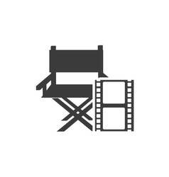 Cinematographic director chair with cinema icon vector
