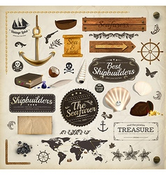 Sea and Ship Icon Set vector image