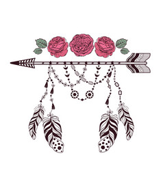 hand drawn boho style design with rose flower vector image