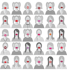 Lip smile set icons vector