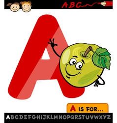 Letter a with apple cartoon vector