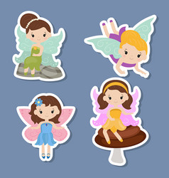 collection of beautiful fairy stickers collection vector image
