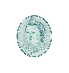 18th century european empress bust oval drawing vector